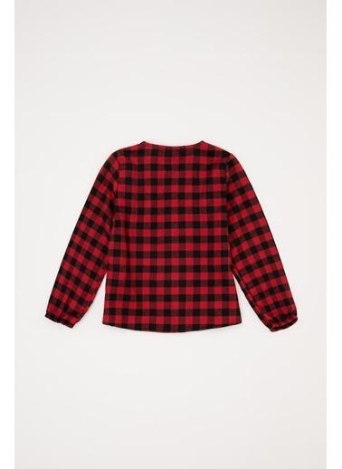 DeFacto Kız Bebek Ekose Desen Kumaş Gömlek Kırmızı